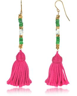 18k Gold-plated & Green Jaspe And White Bamboo Beads Sioux Earrings W/pink Cotton Tassels