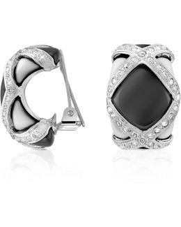 Black & White Clip On Earrings