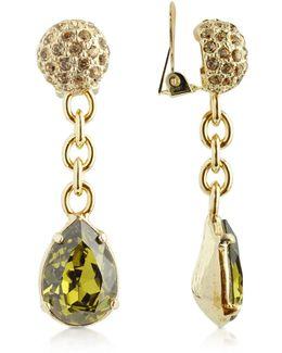 Green Clip-on Drop Earrings