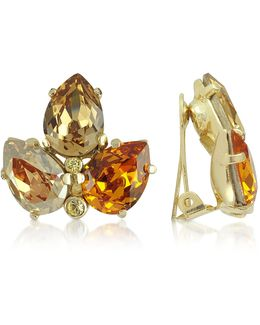 Amber Crystal Clip-on Earrings