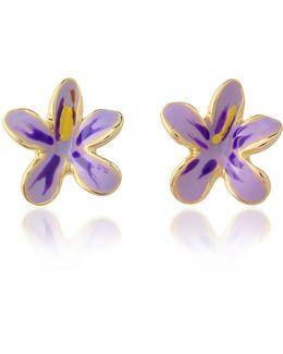 Garden Line - Purple Enamel Flower Earrings