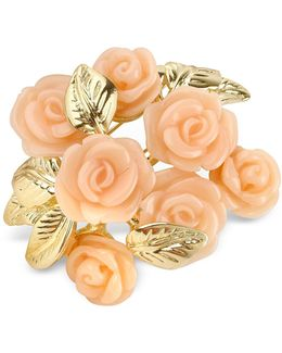 Pink Roses Gold Plated Brooch