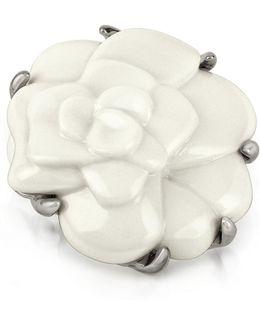 White Camelia Flower Brooch