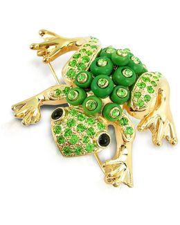 Green Frog Brooch