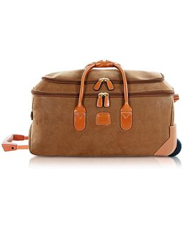 Life - Medium Camel Micro Suede Rolling Duffle Bag