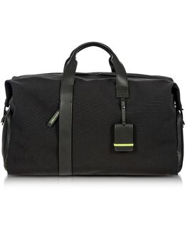 Black Nylon And Leather Weekender Holdall