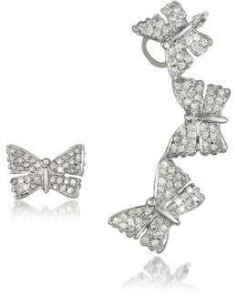 Butterflies White Gold Earrings W/diamonds