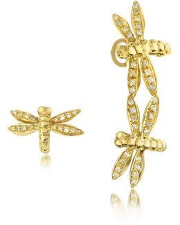 Dragonflies 18k Gold Earrings W/diamonds
