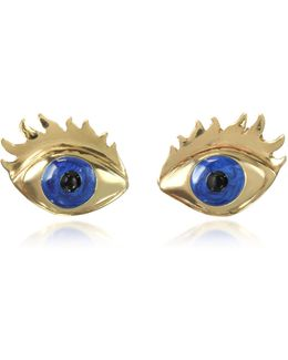 Blue Enamel Eye Bronze Earrings