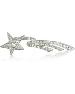 Two Fingers Shooting Star 9k White Gold Ring W/diamonds