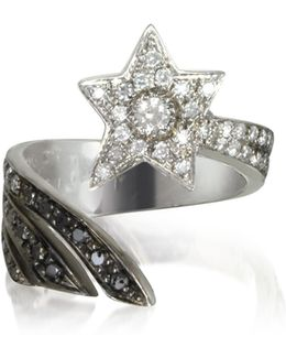 Shooting Star 18k White Gold Midi Ring W/white Grey And Black Diamonds