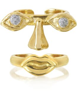 Face 9k Gold Midi Ring Two Pieces W/eyes/nose And Mouth
