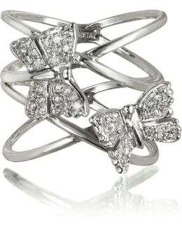 Criss Cross 18k White Gold Ring W/two Diamond Butterflies