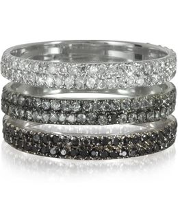 Triple Band 18k White Gold Ring W/white Grey And Black Diamonds