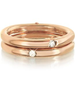 9k Pink Gold Double Secret Ring W/diamonds