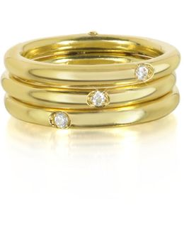 18k Gold Triple Secret Ring W/diamonds