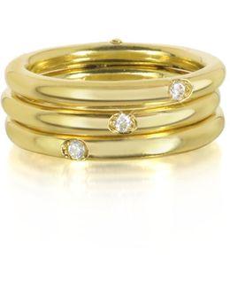 9k Gold Triple Secret Ring W/diamonds