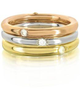 9k White Yellow And Pink Gold Triple Secret Ring W/diamonds