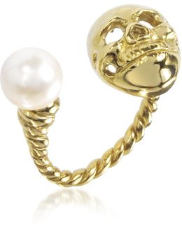 Bronze Skull Ring W/pearl