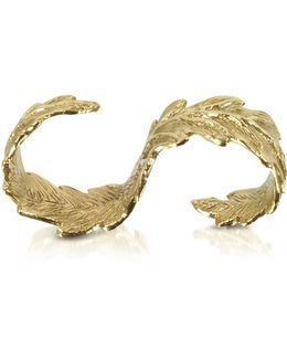 Two Fingers Bronze Leafy Ring