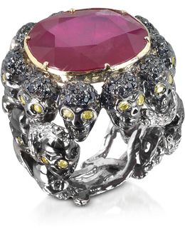 Skulls And Snakes Black Ring W/glass-treated Ruby