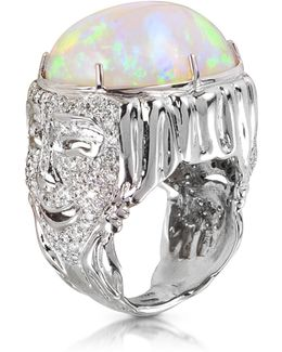 Drama Masks Gold Pave Ring W/opal And Diamonds