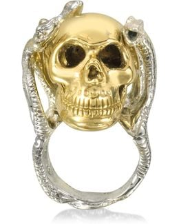 Four Snakes Ring W/bronze Skull