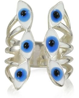 Sterling Silver Ring W/6 Blue Eyes