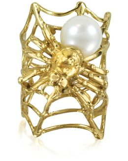 Web And Spyder Bronze Ring W/pearl