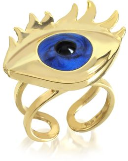 Blue Enamel Eye Bronze Ring