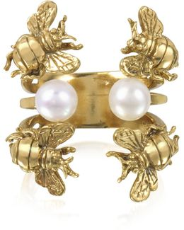 Bees And Pearls Bronze Ring