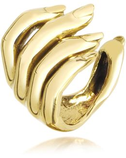 Goldtone Open Hand Women's Bronze Ring