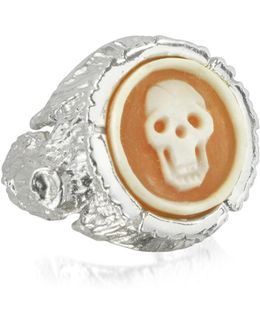 Treetrunk Silver Ring W/ Cameo