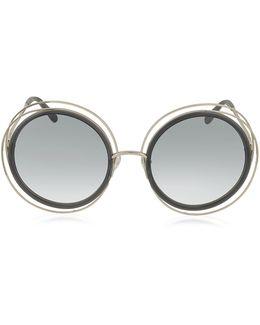 Carlina Ce 120s Round Oversized Acetate & Metal Women's Sunglasses