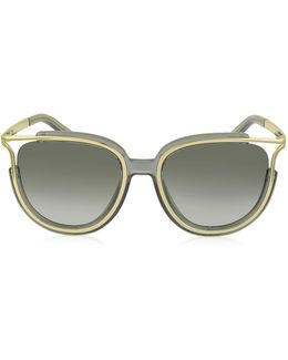 Jayme Ce 688s 036 Gray Acetate And Gold Metal Square Women's Sunglasses
