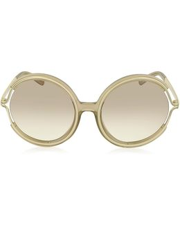 Jayme Ce 708s 272 Light Brown Acetate And Gold Metal Round Women's Sunglasses