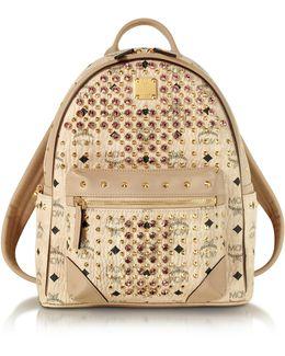 Beige Small Diamond Visetos Backpack