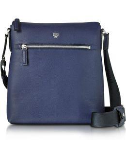 Ottomar Pistol Blue Grain Leather Small Messenger Bag