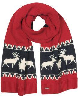Nordic Deers Burgundy And Navy Blue Wool Blend Knit Scarf