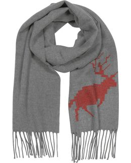 Canada Hiking Gray Wool And Cashmere Men's Long Scarf W/fringes