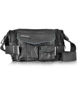 Medium Black Canvas And Leather Military Shoulder Bag