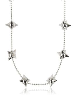 Pierce Me Palladium Plated Metal Spiked Chain Necklace