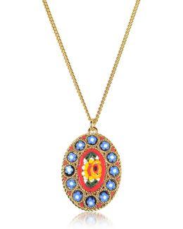 Golden Mosaic Pendant Necklace