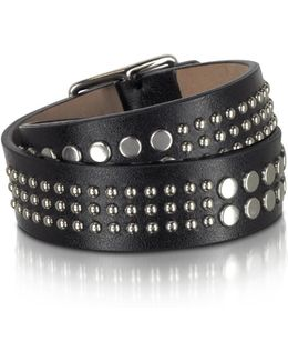 Studded Black Leather Double Wrap Women's Armlet