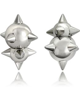 Pierce Me Palladium Plated Metal Spiked Earrings