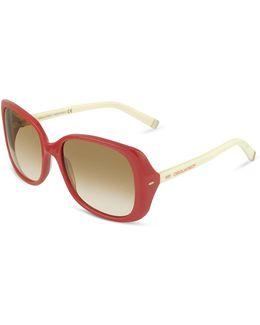 Signature Acetate Square Frame Sunglasses
