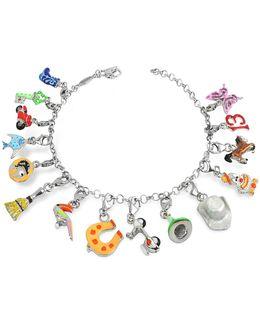 Sterling Silver Multicolor Charm Bracelet