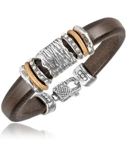 Silver Band Leather Bracelet