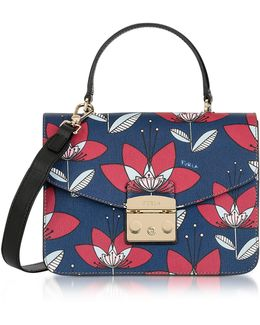 Floral Printed Blue Leather Metropolis S Top Handle Bag