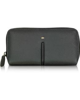 Web Black Leather And Nylon Zip Around Women's Wallet